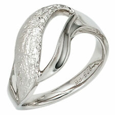 Ring Ladies 925 Silver Rhodium-plated Partially Hammered Silver Ring
