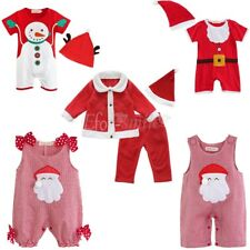Newborn Baby Boys Girls Christmas Santa Romper Bodysuit Jumpsuit Outfits Clothes