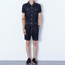 Mens Summer Casual Jumpsuits Short Sleeve Denim Short Pant Rompers Slim Straight