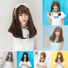 New Girl Women Long Straight Hair Bobo Wig neat Bangs Fluffy Cosplay Party Wigs