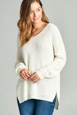 Women's Comfy Loose Relaxed BOHO V-Neck Tunic Sweater Soft Chunky cable Knit