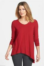 NWT $178 EILEEN FISHER Asymmetric Viscose Jersey L/S Tunic Top TOMATO Red S