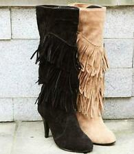 Winter Fashion womens boots Fringed Mid-Calf High-Heels Shoes High Boots Ladies