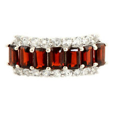 Garnet 2.60 Ct& White Topaz Natural Gemstone Ring In 925 Sterling Silver Jewelry