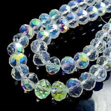Wholesal  Rondelle Faceted Crystal Glass Loose Beads DIY Finding CLEAR AB 3~12mm