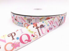 1-100 Yard 1''25MM 26 letters Printed Grosgrain Ribbon Hair Bow Sewing Ribbon