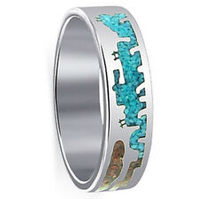 925 Silver Turquoise and Coral Gemstone Inlay Southwestern Style Band