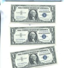 1957 B $1 SILVER CERTIFICATE CURRENCY NOTE LOT OF 3 CONSECUTIVE CH CU 2394K