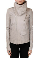 RICK OWENS New Woman COWLED STOOGES Leather JAcket Coat Made in ITaly