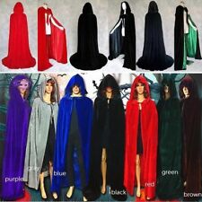 Velvet Hooded Cloak Cape Medieval Pagan Witch Wicca Vampire Halloween Costume US