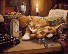 """16x20"""" DIY Acrylic Oil Painting On Canvas Sleepy Cat &Mouse Paint By Number Kit"""