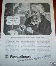 1937 Westinghouse Electricity Grandma Knitting Ad