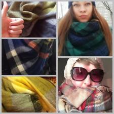 Women Square Multifunction Plaid Blanket Scarf Checked Wrap Shawl Winter W3LE 01
