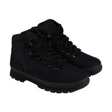 Timberland Euro Hiker Mid Fabric Mens Black Canvas Casual Dress Boots Shoes