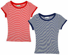 Girls PACK OF 2 Nautical Stripe Red & Navy Ribbed T-Shirt Tops 3 to 13 Years