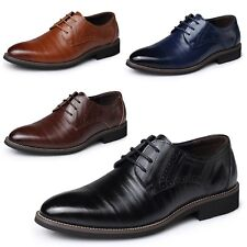Vintage Mens Oxford Cuban heel Business Lace up Brogues Calf leather Shoes