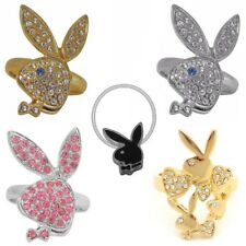Playboy Ring Size S 5-9 Gold Band Silver Pink Swarovski Crystal Women Bunny Logo