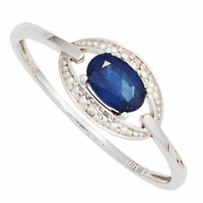 Ladies Ring with Sapphire Blue & Diamonds Brilliants, 585 Gold White