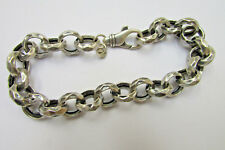 Trendy Oxidized Sterling Silver Bracelet Heavy Hammered Rolo Chain Jewelry Wow!