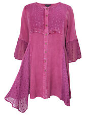 Classy Tunic Dress Long Top with Lace Raspberry Size 44 46 48 50 52 54 56 58 NEW