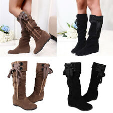 Women Plain Lace up Flat Mid-Calf Boots Ladies Slip On Solid Party Shoes Size