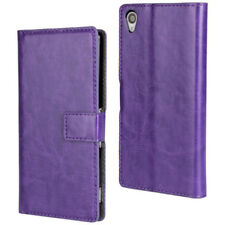 Purple Luxury Textured Leather Wallet Stand Case for Sony Xperia Z3