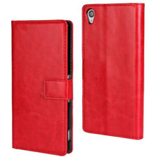 Red Sony Xperia Z3 Luxury Textured Leather Wallet Stand Case