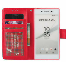 Red Premium Wallet Case With Soft TPU Holder For  Sony Xperia Z5