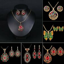 Women Hollow Colorful Crystal Rhinestone Pendant Necklace Earrings Jewelry Set