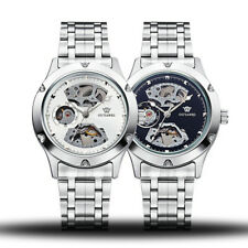Mens Silver Skeleton Analog Mechanical Automatic Wristwatch Steel Band Watch C