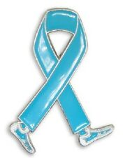 Light Blue Cancer Awareness Pin Walking Legs Ribbon Cap Hat Lapel Tac Causes