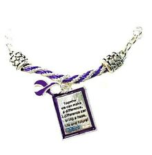Purple Awareness Bracelet Ribbon Braided Engraved Square Charm Cancer Causes New