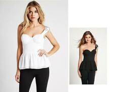 NEW WOMENS GUESS ONE SHOULDER BEADED WHITE BLACK EMBELLISHED NECKLINE TOP BLOUSE