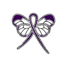 Purple Ribbon Butterfly Awareness Pin Exclusive Design Many Cancer Cause New
