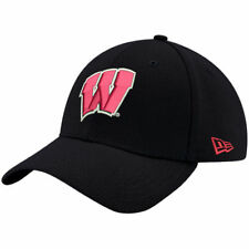 New Era Wisconsin Badgers Black Relaxed 49FORTY Fitted Hat - College