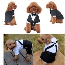 Small Pet Dog Cat Clothing Prince Wedding Suit Tuxedo Bow Tie Puppy Clothes Coat