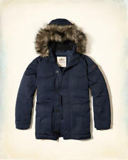NWT Hollister by Abercrombie&Fitch Mens Down Nylon Parka Jacket Navy XS