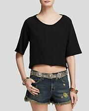 NWT Free People Womens Black Take Me Back Open Back Crop Top Shirt Sz Med. $68