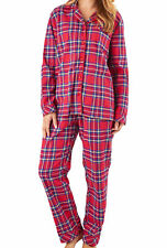 Ladies Slenderella Tartan Pyjamas Yarn Dyed Cotton Top & Bottoms Checked PJs