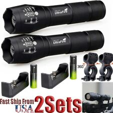 Zoom 30000LM 5modes XM-L T6 LED Flashlight Lamp+18650+360°Mount Clip+Charger US