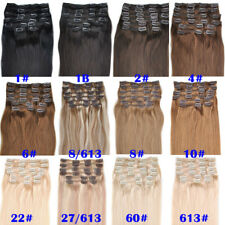 20''26'' 10Pcs 160g Clip In Remy Human Hair Extensions Any Color Full Head Set