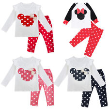 2 Piece Baby Girl Minnie Mouse Long Sleeve Tops+Pants Set Kid Fall Winter Outfit