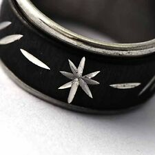 Black Stainless Steel womens mens Flower Lady Rings vogue Size 7 8 9 10 11 12