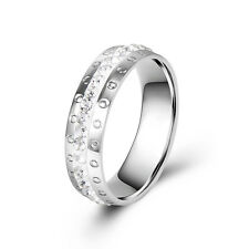 New Womens Mens Stainless Steel Ring Wedding Band crystal Free Shipping
