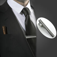 Mens Silver Stainless Steel Enamel Tie Clip Skinny Collar Bar Clasps Funny