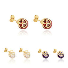 korean Jewelry 18K Gold plated Big Crystal Ruby Fashion Stud Earrings