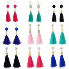 Charm Tassel Dangle Thread Fringe Drop Crystal Ear Stud Hook Earrings Jewelry