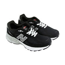 New Balance W990 Womens Black Leather & Mesh Athletic Lace Up Running Shoes