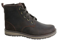 Timberland EK Lace Up Side Zip Brown Waxed Leather Youths Boots A17FY D104