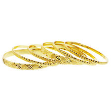 Gold Plated Carved Design Thick Thin Bollywood Indian Bangle Bracelets Set of 6